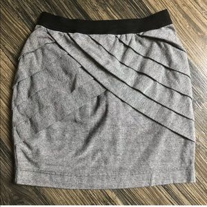 Silence + Noise Gray Tiered Stretch Mini Skirt